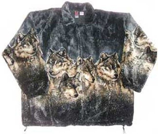 Gray Wolf Plush Fleece Jacket Adult (3x, 4X)