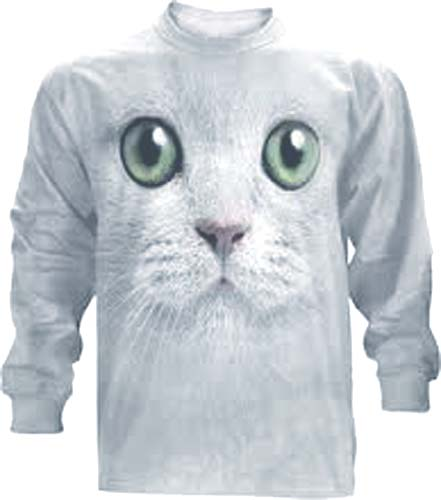 The Mountain Green Eyes Kitten Face Long Sleeve Cat T-Shirt (Med - XL)