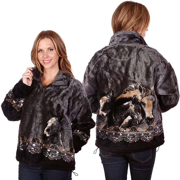 Pewter Horses by Bear Ridge Outfitters Plush Fleece Jacket Adult (XS - 2X)