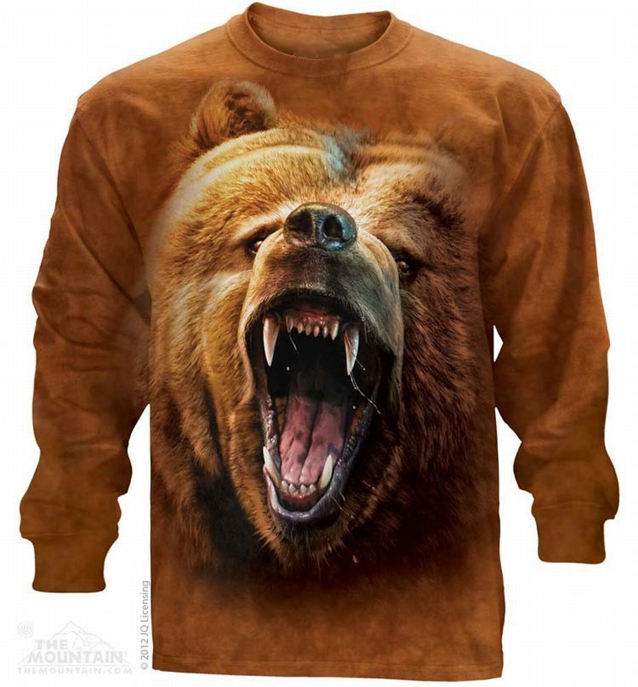 The Mountain Grizzly Bear Growl Long Sleeve T-Shirt (Lg - 3X)