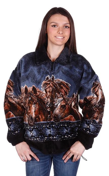 Horse Gathering Plush Fleece Jacket Adult (5X)