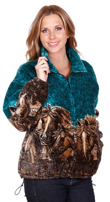 Horses Turquoise Plush Fleece Jacket Adult (XS - 4X)