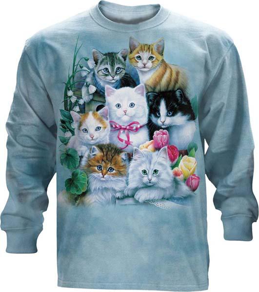 The Mountain Kittens & Flowers Long Sleeve Cat T Shirt (3x)
