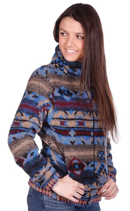 Lapis Looped Wool / Fleece Cinchback Southwestern Jacket by Bear Ridge Outfitters