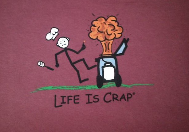 Clearance Life is Crap: Barbeque Explosion T Shirt (Med) Made USA