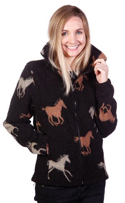 Stampede Looped Wool / Fleece Cinchback Horse Jacket (XS - 3X)