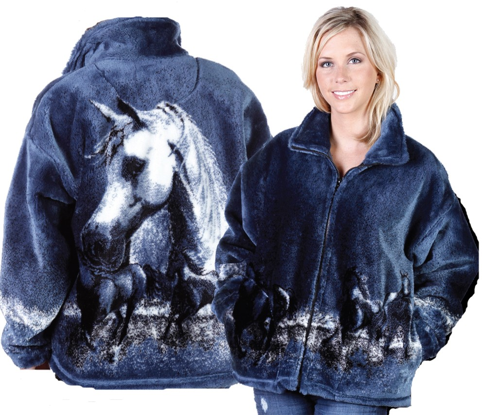 Majestic Arabian Horse Plush Fleece Jacket Adult (XL, 2X)