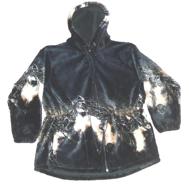 Mane Attraction Horses Ultra Plush Fleece Hooded Jacket (Sm, Md) Dark Navy