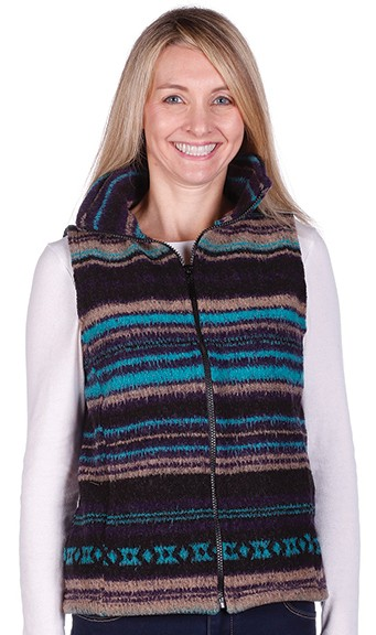 Bear Ridge Mexicali Turquoise Stripes Southwest Looped Wool Fleece Cinchback Vest
