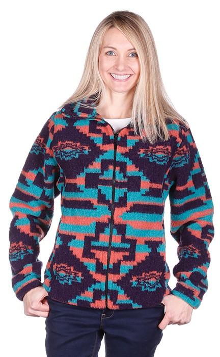 Ladies Modesto Looped Wool / Fleece Cinchback Southwestern Aztec Jacket by Bear Ridge Outfitters