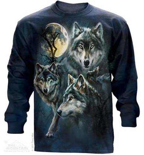 """The Mountain """"Moon Wolves Collage"""" Long Sleeve Wolf T-Shirt (3x)"""