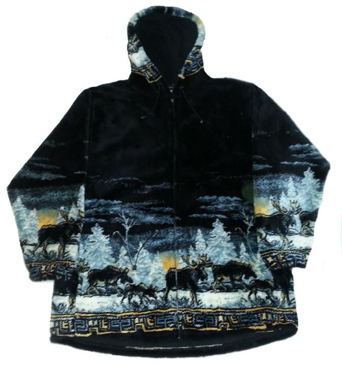 Moose Sunset Hooded Plush Fleece Jacket Adult (SM)