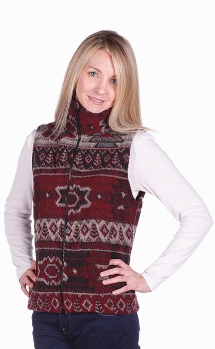 Childs Napa Southwestern Looped Wool Fleece Cinchbach Print Vest Juniors Kids Size