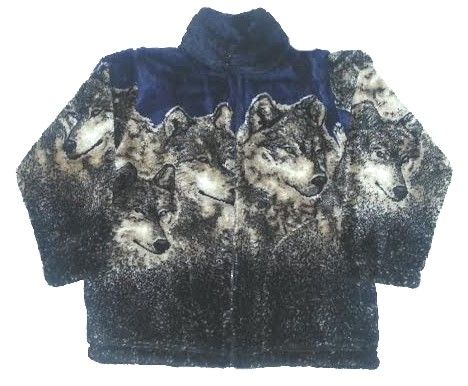Navy Wolves Plush Fleece Jacket Kids & Junior Size