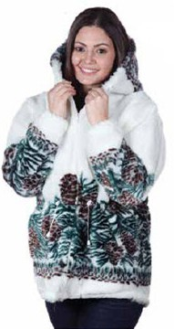 Clearance Sale Mazmania White Hooded Pine Cones Fleece Jacket with Hood (XS, Sm)