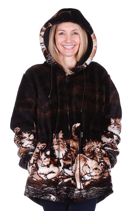 Clearance Sale Nights Meow Plush Fleece Cat Kitten Jacket with Hood (Xs - Sm)