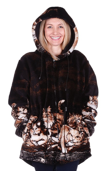 Nights Meow Kittens Hooded Plush Fleece Cat Jacket with Hood (Xs / Sm)