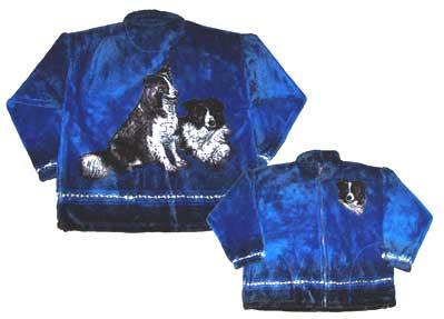 Border Collie Plush Fleece Jacket Adult  (Sm, Md)