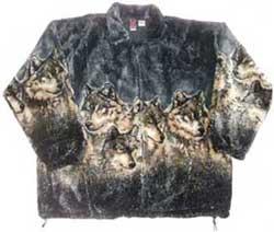 Gray Wolf Plush Fleece Jacket Kids & Junior Size