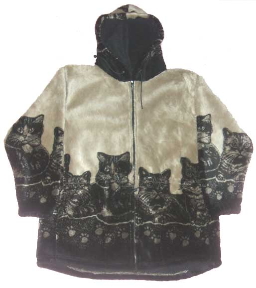 Clearance Sale Hooded Cats Kitten Plush Fleece Jacket with Hood (Xs - Sm)