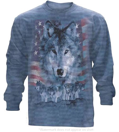 The Mountain Patriotic Wolf Pack Wolves Flag Long Sleeve Tee Shirt (3x)