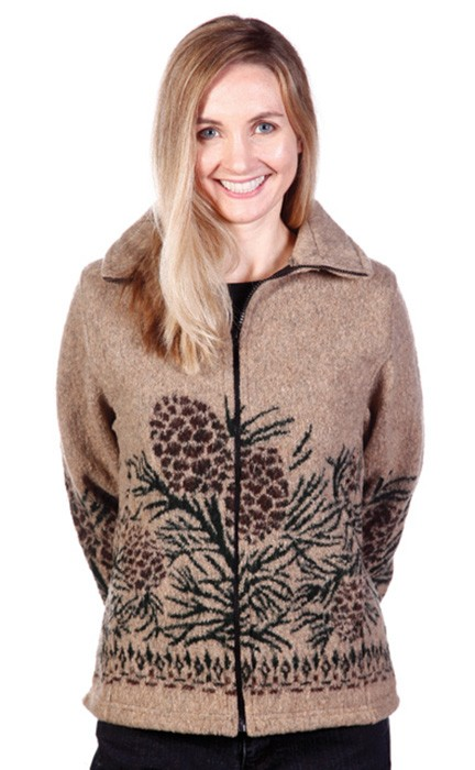 Pine Cones Looped Wool Cinchback Jacket by Bear Ridge