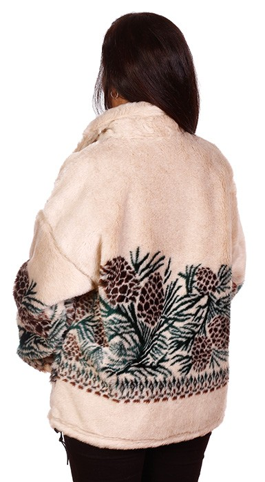 Clearance Pine Cones Tan Microplush Fleece Jacket Adult (LG)