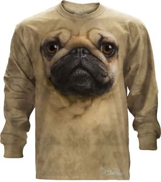 Sale The Mountain Pug Face Long Sleeve Dog T-Shirt (XL, 5X)
