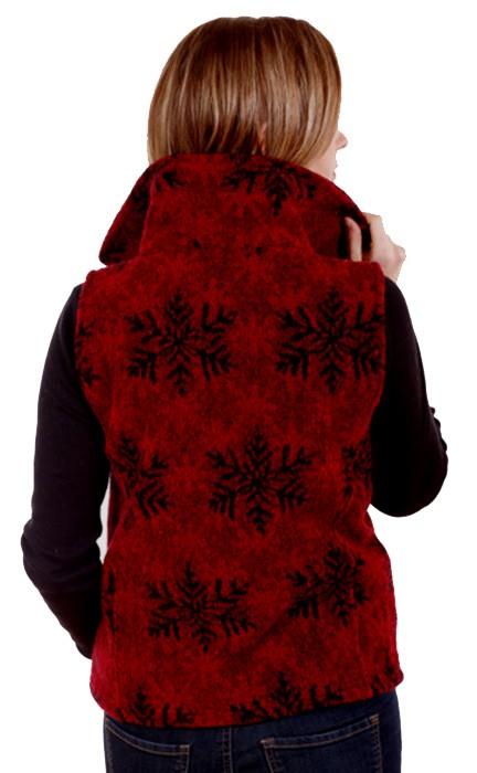 Red Snowflakes Looped Wool Fleece Cinchbach Vest