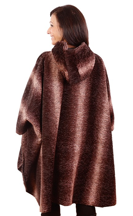 Andrea Faye Regina Faux Fur Adult Hooded Cape