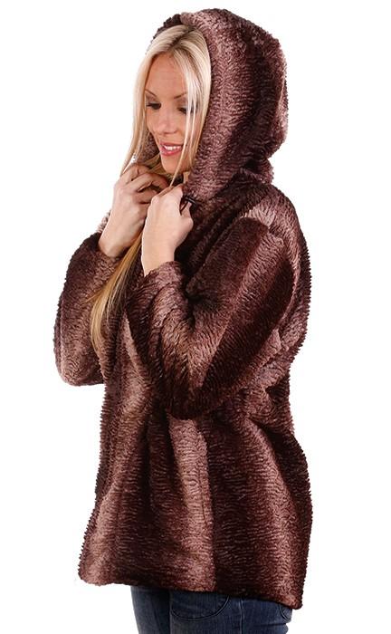 Andrea Faye Regina Hooded Adult Boa Jacket (XS-2X)