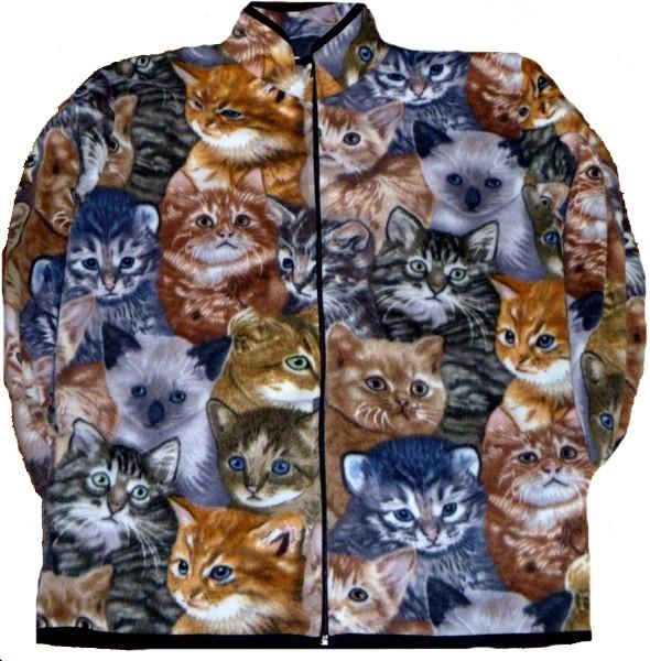 Reversible Polar Fleece All Over Cats Kittens Jacket (Sm - 3X)