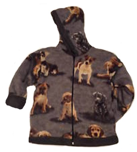 Kids Cute Dogs Hooded Reversible Fleece Jacket with Puppies Child & Junior Sizes