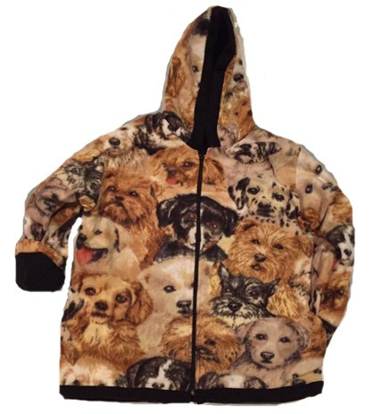 Kids Dog Faces Hooded Reversible Fleece Jacket with Puppies Junior Sizes