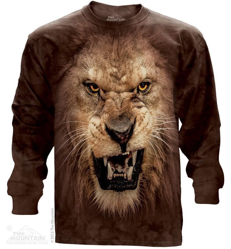 The Mountain Roaring Lion Long Sleeve T-Shirt (Sm - 3X)