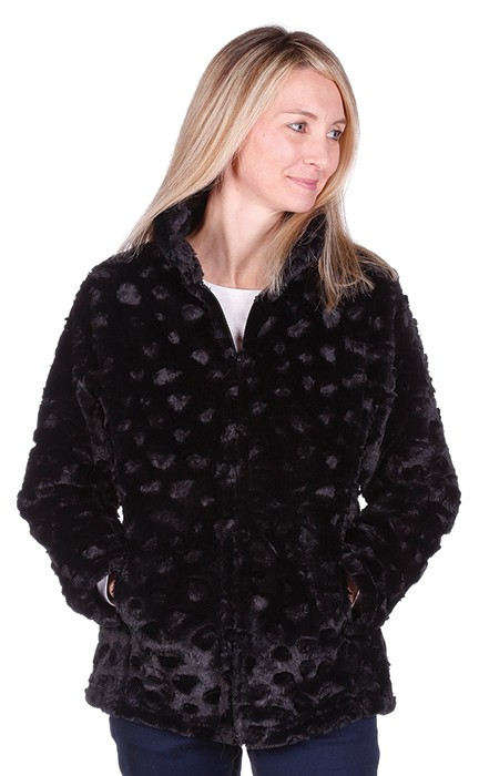Andrea Faye Seville Ladies Boa Cinchback Washable Faux Fur Jacket (XS-2X)