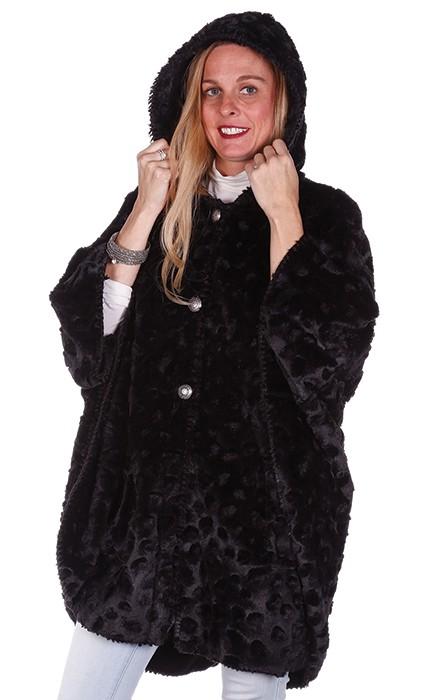 Andrea Faye Seville Black Faux Fur Adult Hooded Cape