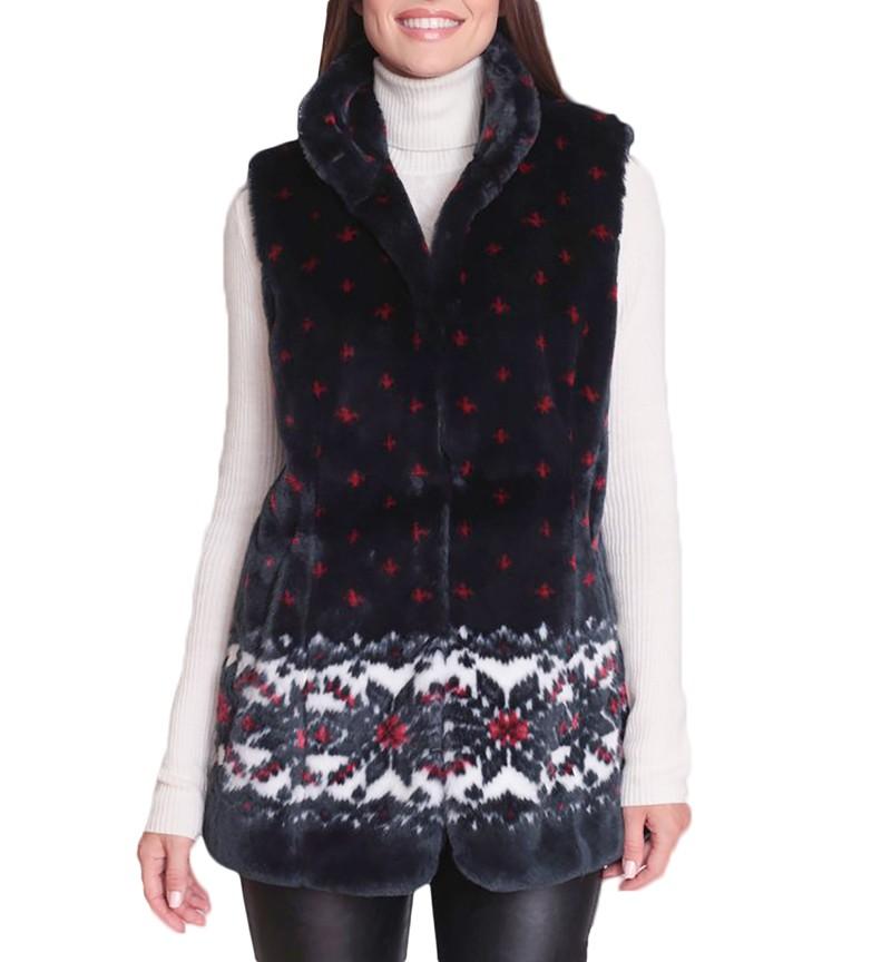 New Black Mountain Snowflakes Faux Fur Fleece Vest with Satin Lining (Sm-2X)