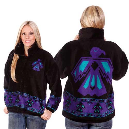 Thunderbird Native American Plush Fleece Jacket Adult (XS, Sm)