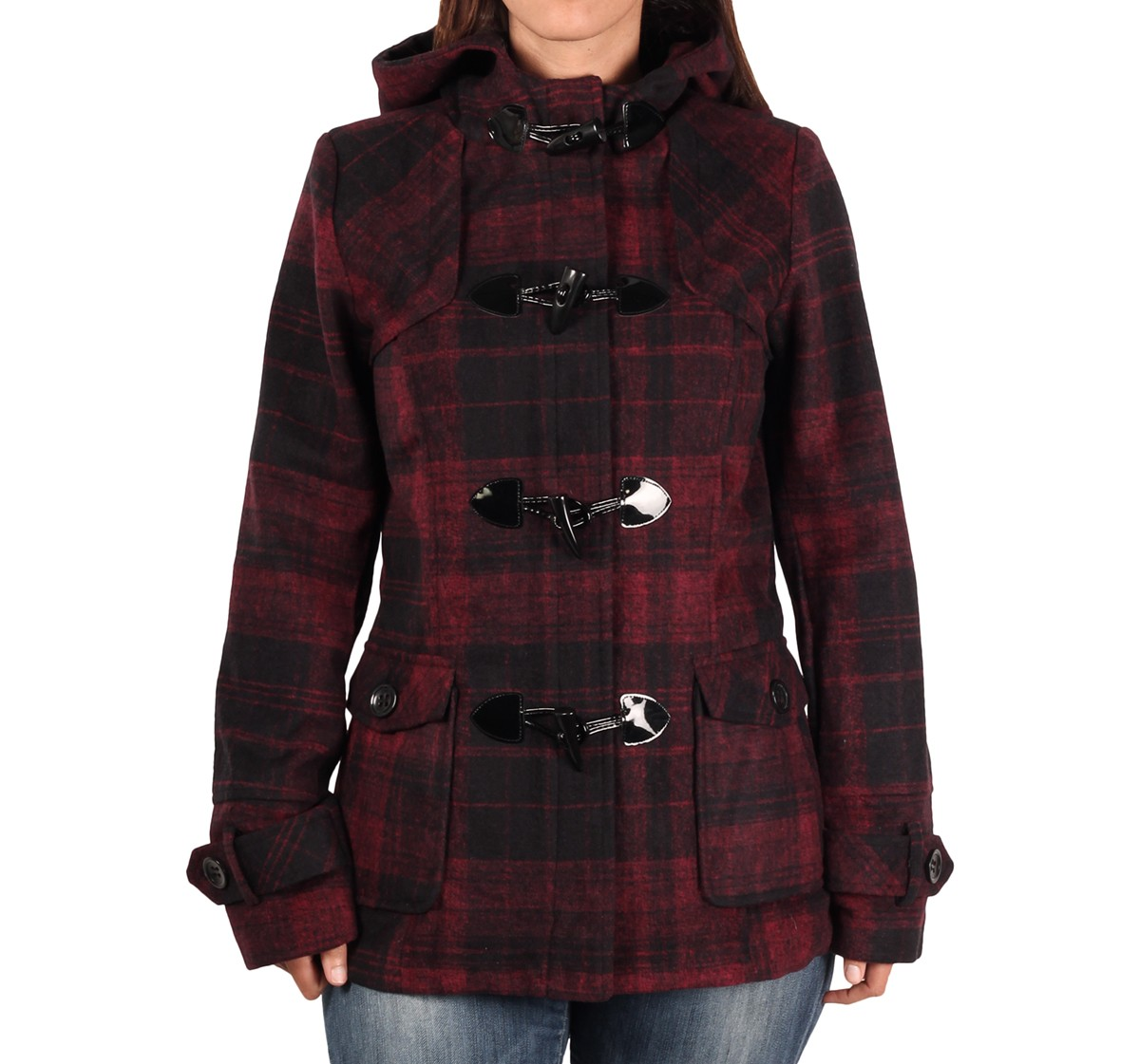 Clearance Berry Plaid Hooded Wool Blend Coat with Satin Lining Jacket Sm - XL