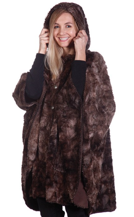 Andrea Faye Victoria Faux Fur Cape with Hood