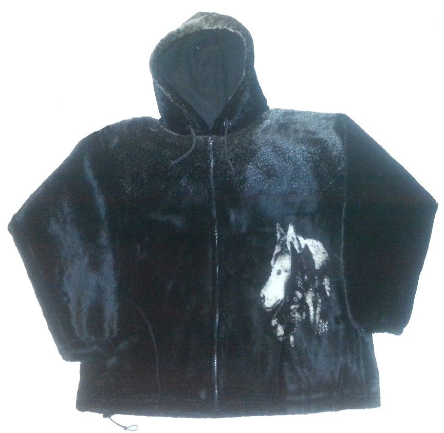 Sale - The Watchers Wolf Hooded Microplush Fleece Wolves Jacket with Hood Adult (Sm - 2X)