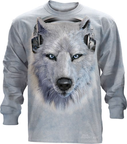 The Mountain White Wolf DJ Long Sleeve Tee Shirt (Lg - 5X)