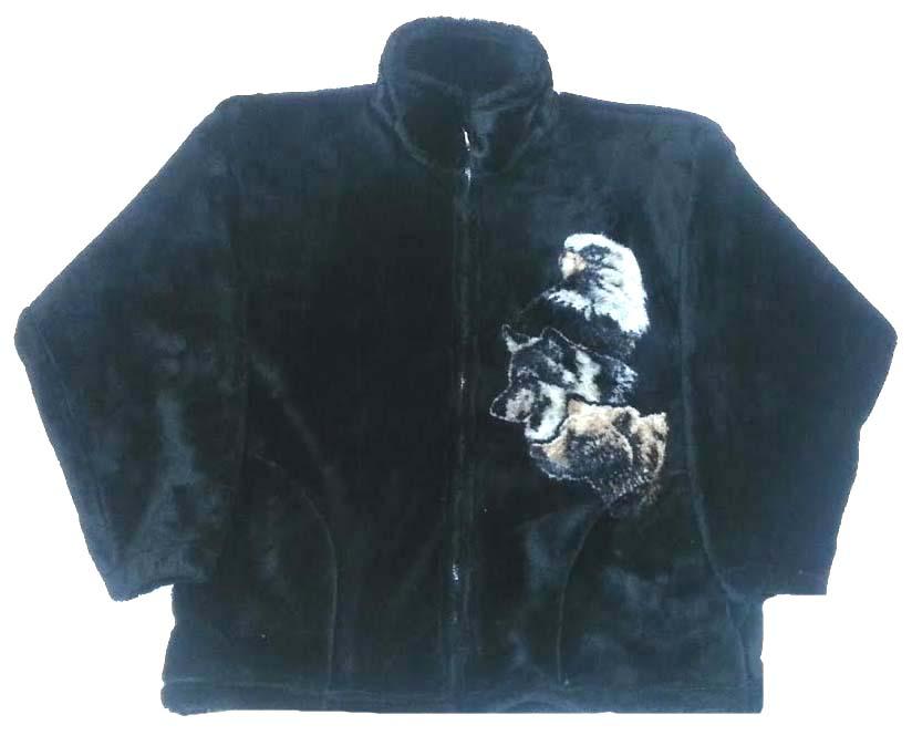 Wild Spirit by Bear Ridge Outfitters Bald Eagle Bear Wolf Plush Fleece Jacket Adult (XS - 2X)