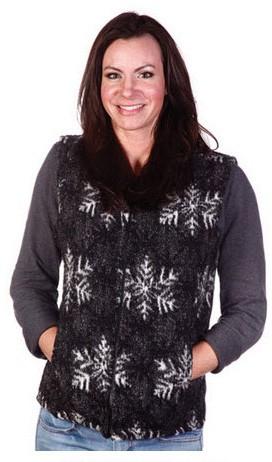 Winters Eve Snowflakes Looped Wool Fleece Cinchbach Vest (sm, 2x)