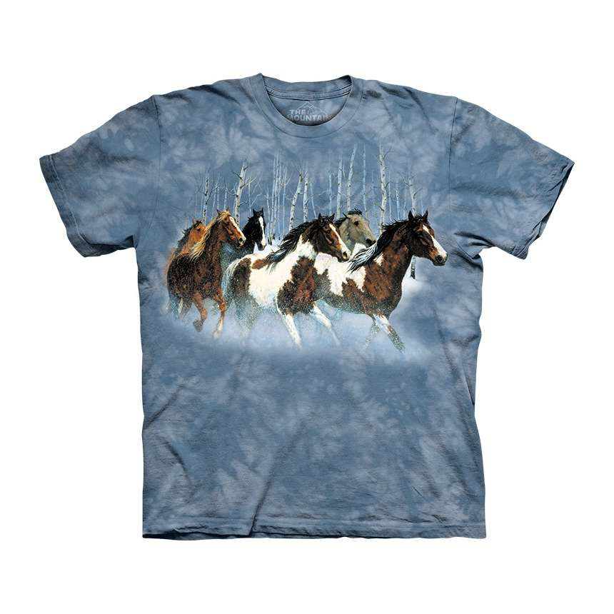 The Mountain Winter Run Short Sleeve Paint Horse Print T-Shirt (Sm - 3x)