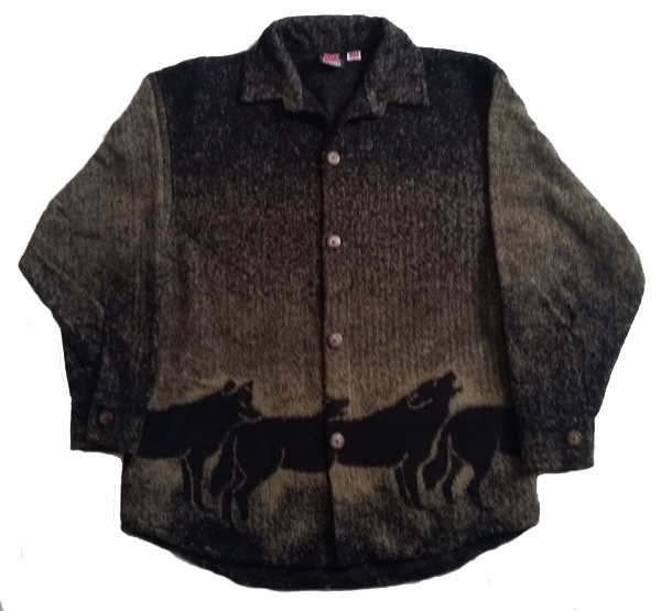 Clearance Howling Wolves Midweight Fleece Button Jacket Adult (Med, Lg, XL)