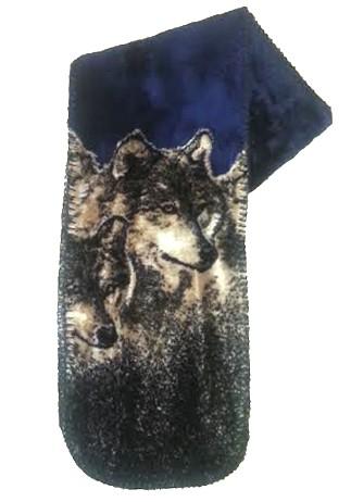 Navy Wolves Plush Fleece Scarf