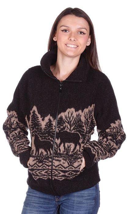 Woodlands Wolf Bear Moose Looped Wool Fleece Ladies Cinchbach Jacket