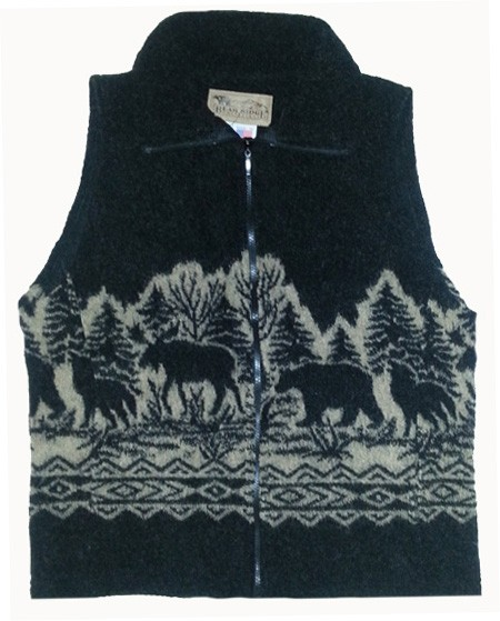 Woodlands Wolf Bear Moose Looped Wool Fleece Cinchbach Vest